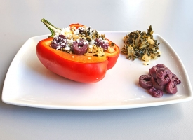 Our Spinach and Onion recipe baked in a red pepper, with added feta cheese and olives.