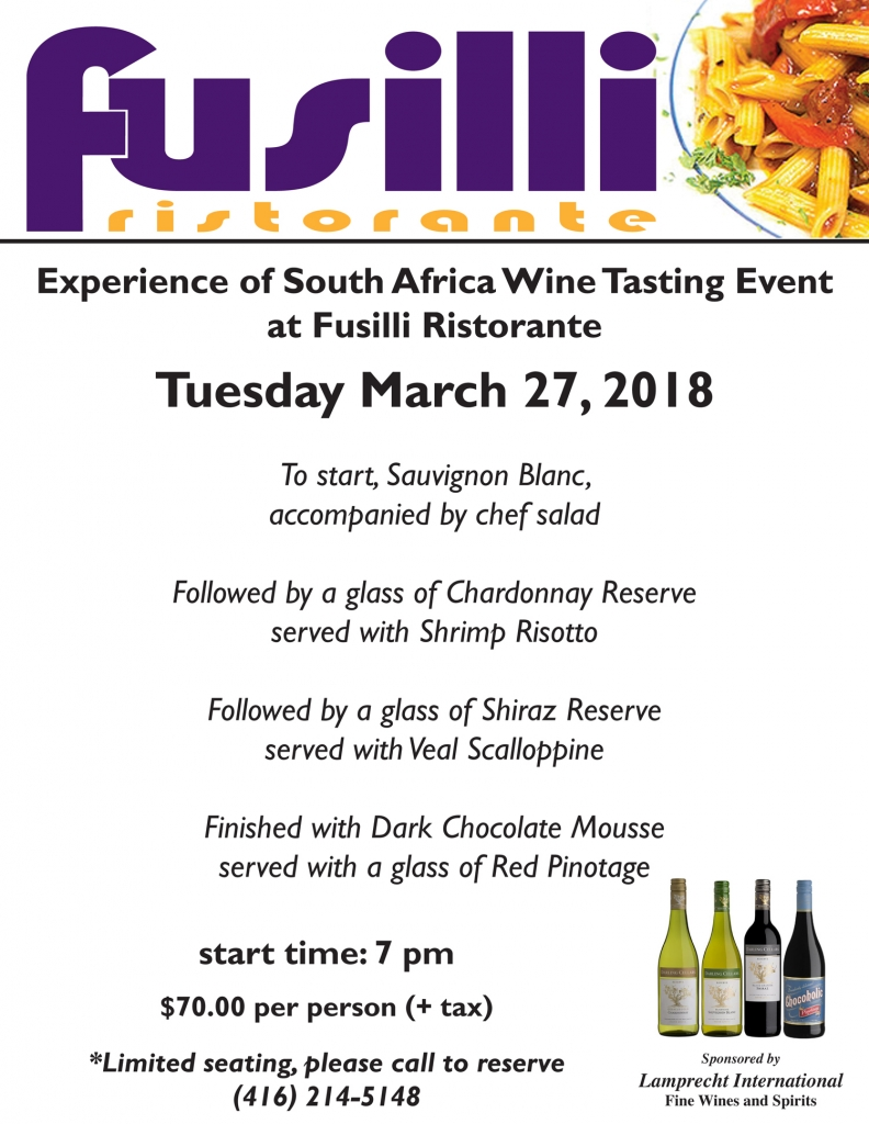 Experience of South Africa Wine Tasting Event at Fusilli Ristorante
