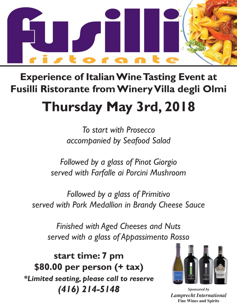 Experience of Italian Wine Tasting Event at Fusilli Ristorante from Winery Villa Degli Olmi