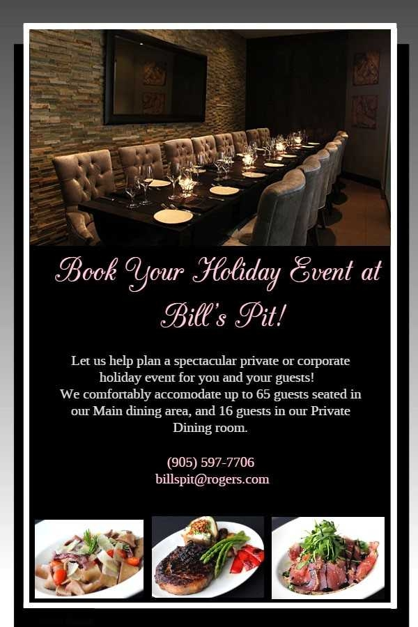 Book Your Holiday Event at Bill's Pit!
