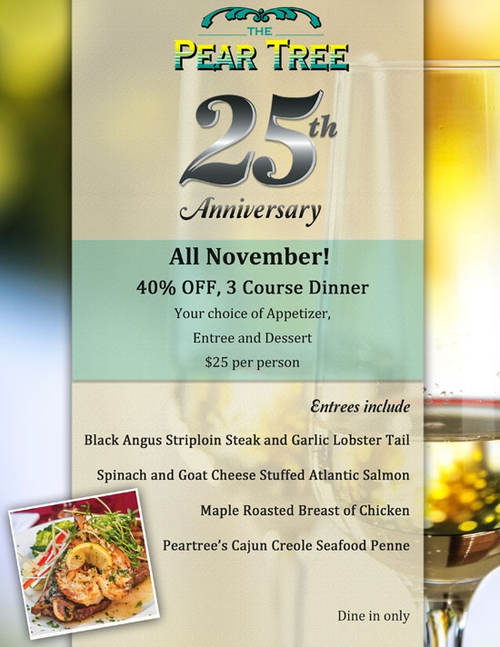 We are celebrating our 25th Anniversary at The Peartree!