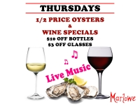 Oysters, Wine & Live Music - Every Thursday at Marlowe!