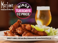 Tuesday 1/2 Price Wings