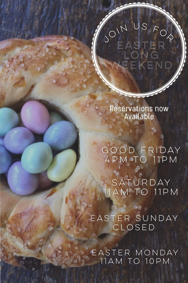 Join us for Easter Long Weekend