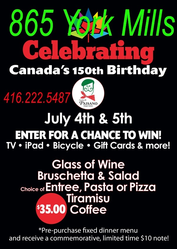 Celebrating Canada's 150th Anniversary at Cucina di Paisano!