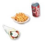 1. Souvlaki pita + frites + liqueur