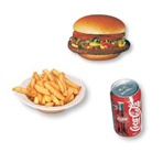 4. Fromageburger au bacon + frites + liqueur