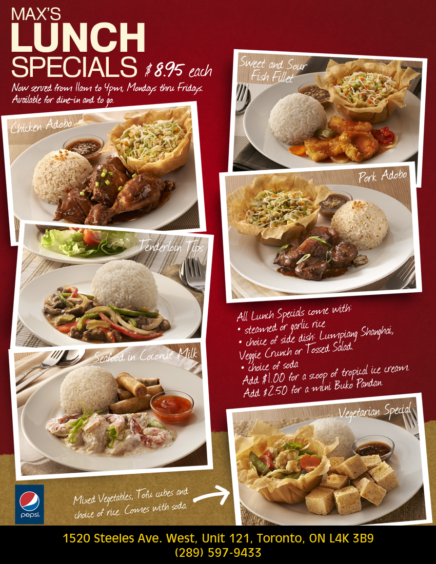 Lunch specials menu at max 39 s restaurant for Lunch specials